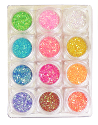 Glitter Rainb Corn-1 mm12 färg