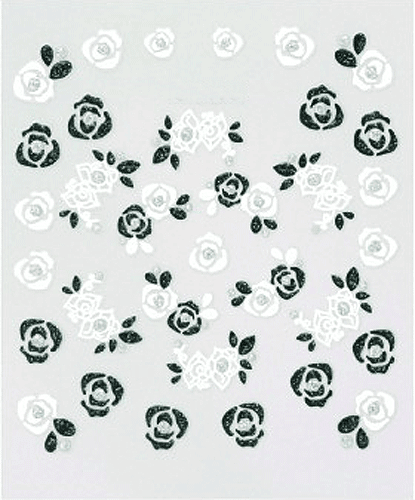Black & White Flowers - 3D Nail Sticker -173